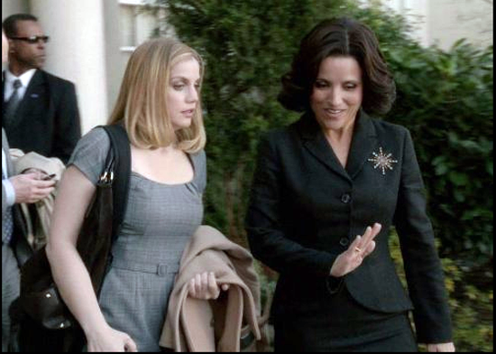 "Anna Chlumsky and Julia Louise-Dreyfus in ""Veep."""